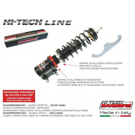 Front shock absorber made in italy by carbone adjustable vespa pk