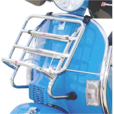 Chromed front luggage carrier with rods for vespa px