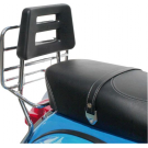 Chrome-plated rear luggage carrier with back rest for Vespa PX/PE/Arcobaleno/My