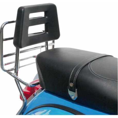 Chrome-plated rear luggage carrier with back rest for vespa px