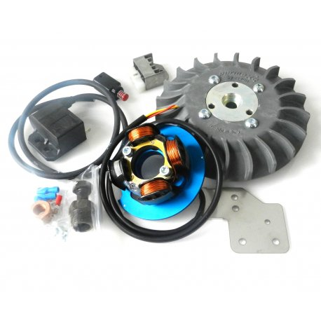 Parmakit ignition 20mm cone for vespa 50/90/125 et3/primavera, 1-kg flywheel. the fan comes in grey, yellow, blue, carbon look