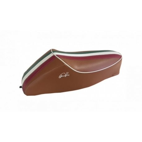 Saddle with hump brown three colours for vespa 50 special, r, l, elestart.