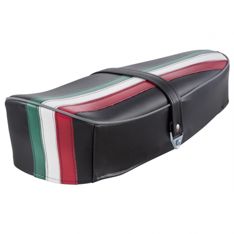 Saddle with hump black three colours for vespa 50 special, r, l, elestart.