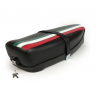 Two-seater saddle black vespa 125 et3 with lock and spring bottom.