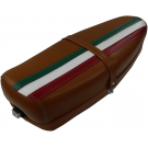 Two-seater saddle brown three colors vespa 125 et3 with lock and spring bottom.
