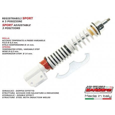 Front shock absorber made by carbone adjustable vespa px all series except those with disc brake