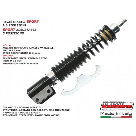 Front shock absorber made in italy by carbone adjustable for vespa px all without disc brake
