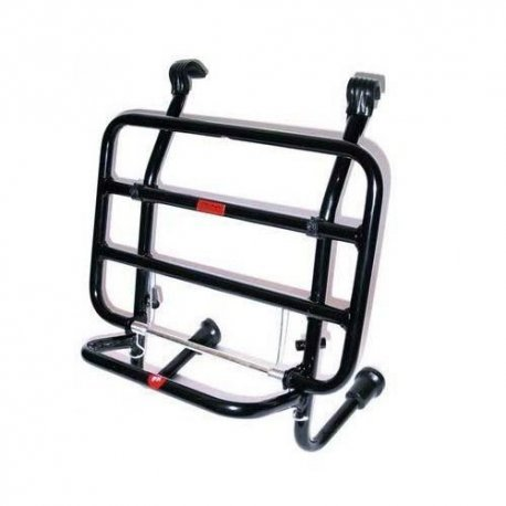 Black painted front luggage carrier with rods for vespa