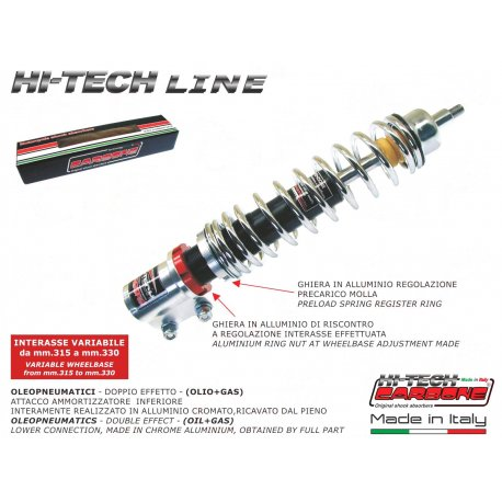 Front shock absorber made in italy by carbone adjustable vespa px/pe/lml all series