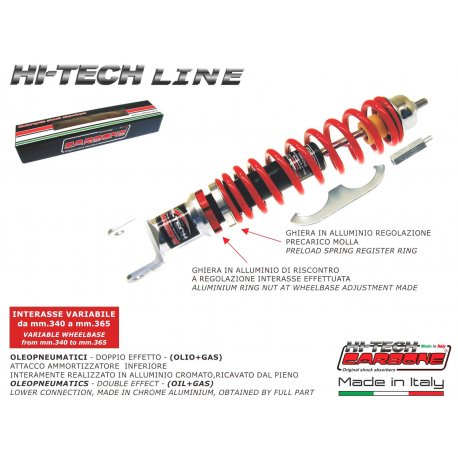 Rear shock absorber made in italy by carbone adjustable