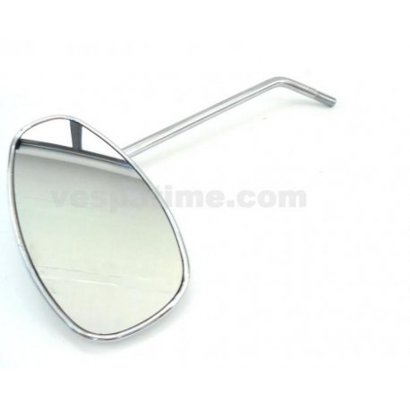 Chrome-plated tear-drop shaped mirror with bracket for fastening on handlebar, both right and left fitting