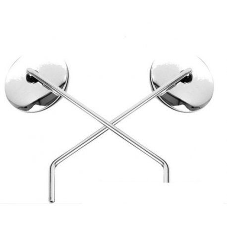 Pair of mirrors chrome steel for vespa px my, type-approved, original piaggio
