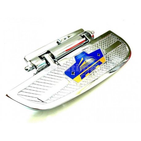 Chrome-plated side footrest woman, with emblem available in blue and red